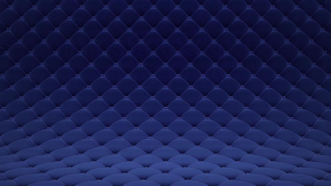 3D motion animation of blue quilted velvet surface with blue leather straps. Realistic animation of Animation
