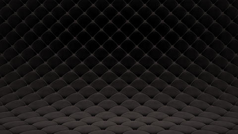 3D motion animation of black quilted velvet surface with black leather straps. Realistic animation Animation
