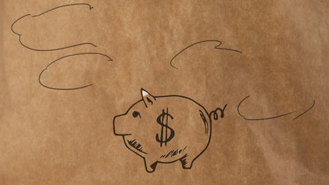 Pig piggy bank drawn with clouds on a brown paper background Animation