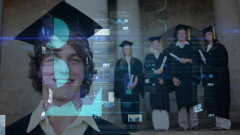 Graduate students in bachelor dress with data animation in the foreground Animation