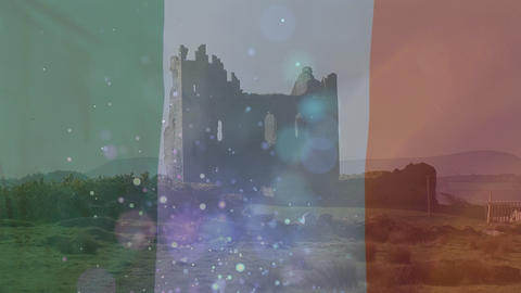 Irish castle on the hill with an Irish flag waving on the foreground Animation