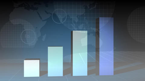 Data chart growing on a digital world map on the background Animation
