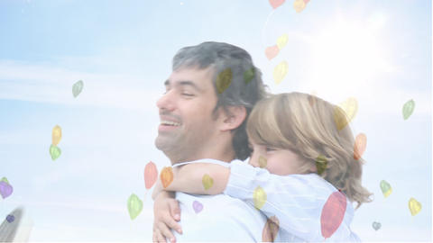 Digital composite of father giving his daughter piggyback ride Animation