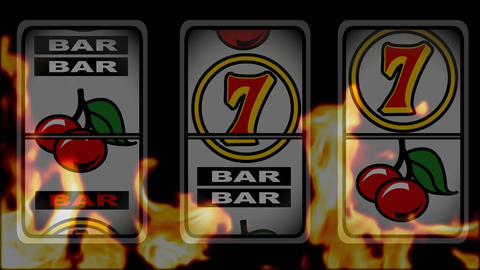 Slot machine winning animation against a burning background Animation