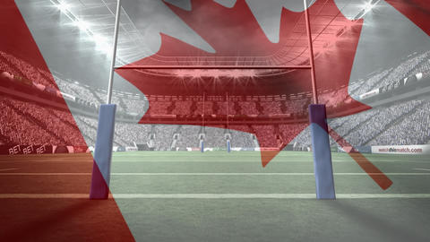 Rugby stadium with Canadian flag floating on the foreground Live Action