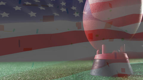 Kicking ball animation with american flag background Animation