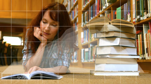 Women reading in a library Animation