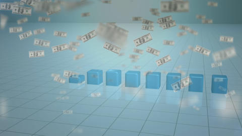 Bar chart growing with animated banknotes flying away Animation