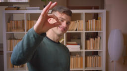 Portrait of young male student gestures ok sign having achieved success at Footage