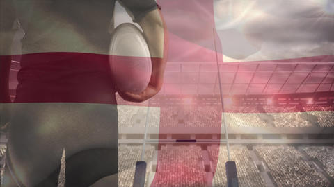 English rugby player looking at the stadium with an English flag on the foreground Animation