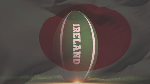 Rugby player kicking an Irish rugby ball against a Japanese flag background Animation