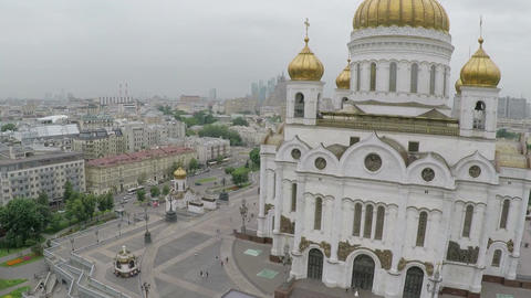 Cathedral of Christ the Saviour and Moscow city, aerial view Footage
