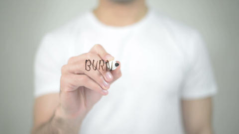 Burn Calories, man writing on transparent screen Footage