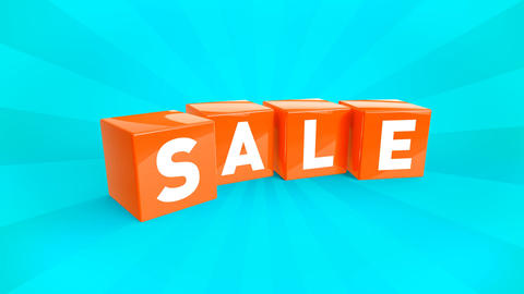 3D animation of a falling cubes with text SALE Animation