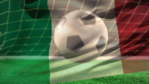 Football bouncing on the floor in front of the goal with an Italian flag on the foreground Animation