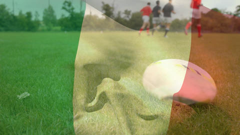 Rugby players doing physical exercises with an Irish flag Animation