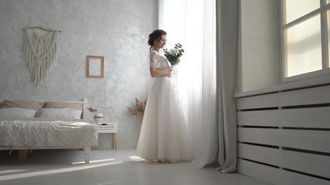 4K Chandelier's Chrystals Of Wedding Couple Poses In Bedroom Footage