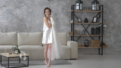 Portrait Of Gorgeous Young Bride Poses And Spins In Wedding Dress Slow Motion Live Action