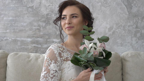 Romantic Wedding Concept Bride Holding Flowers Footage