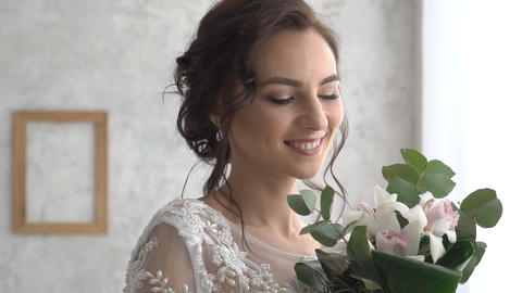 Attractive Image Of Dark-Haired Bride With Neat, Gentle Hairstyle Footage