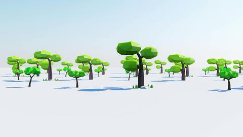 Cartoon Tree Low Polygon (Loop) Stock Video Footage
