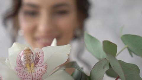The Bride's Hand Strokes A Wedding Bouquet Footage