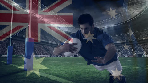 Rugby player diving to score in a big stadium with an Australian flag Animation