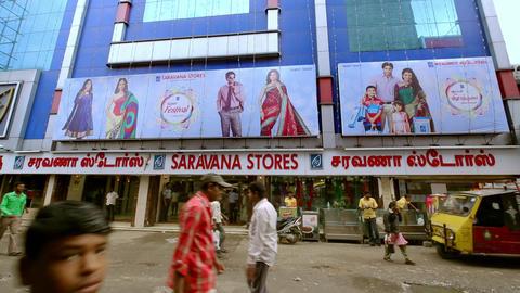 Saravana stores building exterior, A morning exterior establishing shot. busy street Live Action