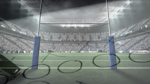Rugby stadium with a strategy paper and whistle Animation