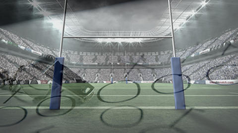 Rugby stadium with a strategy paper and whistle, Stock Animation