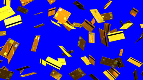 Gold Credit cards on blue chroma key Animation