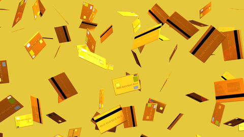 Gold Credit cards on beige background Stock Video Footage