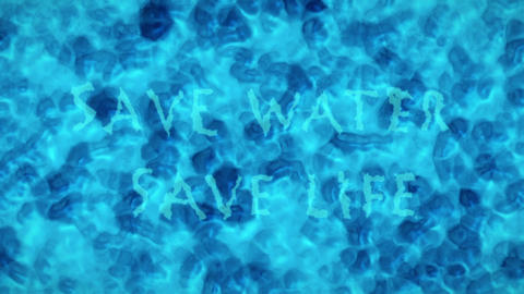 Turquoise Blue Water Surface With Splashing Waves and Text Saying Save Water, Save Life Animation