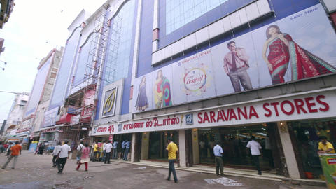 biggest shopping area with famous retail outlets. Saravana stores building exterior, A morning Live Action