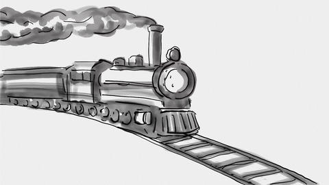 Steam Locomotive Train Watercolor 2D Animation Animation