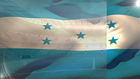 Honduras flag floating in the sky Animation