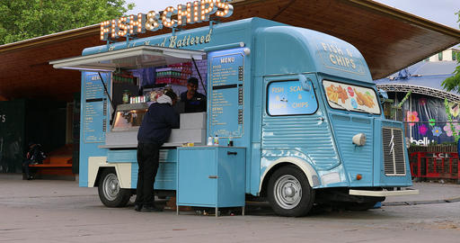 Fish And Chips Van Food Truck Footage