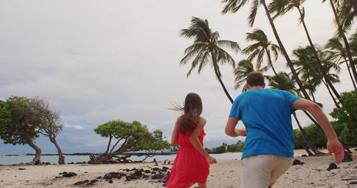 Couple on Hawaii beach vacation with palm trees in Big island Footage