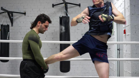 Masculine Caucasian Boxer Mma Fighter Training Live Action