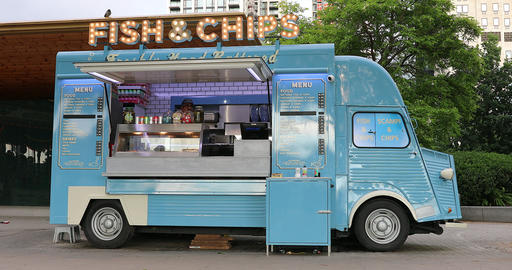 Fish And Chips Van Food Truck - Side View Footage