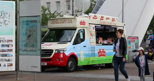 Ice Cream Food Truck In London Footage