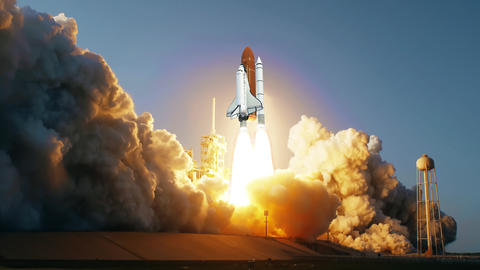 Space Shuttle launching in slow motion. Elements of this video furnished by NASA Footage