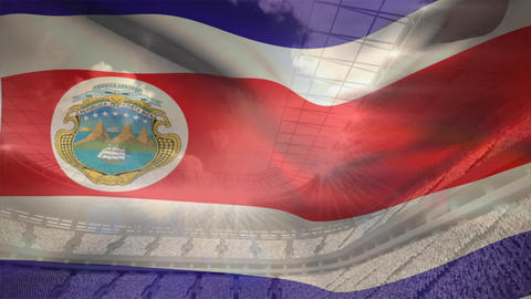 Costa Rica flag waving Animation