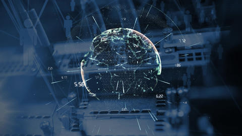 Animated globe against cables in computer in background Animation