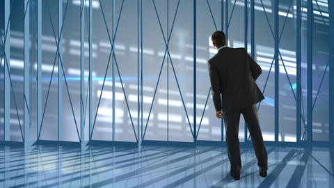 Businessman looking outside of empty office Animation
