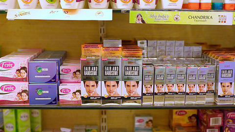 Cosmetic products in the store. fair and handsome, fair and lovely skincare, makeup product's on the Live Action