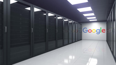 Logo of GOOGLE on the wall of a server room, editorial 3D animation Live Action