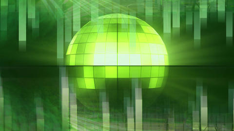Green rotating disco ball Animation