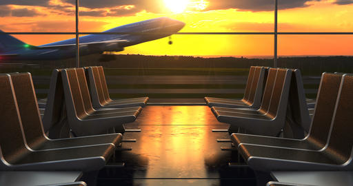 Airplane departure against scenic sunset seen through departure lounge windows Animation