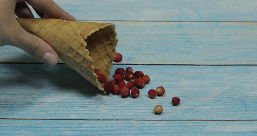 Berry ice cream. Berries of strawberry in a waffle on a blue wooden background Live Action
